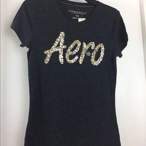 Aeropostale AERO Gold Sequin Black t-shirt